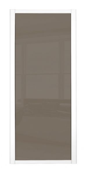 Shaker Sliding Wardrobe Door- WHITE FRAME- CAPPUCCINO GLASS SINGLE PANEL